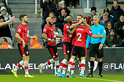Danny Ings (#9) of Southampton celebrates Southampton's first goal (0-1) during the Premier League match between Newcastle United and Southampton at St. James's Park, Newcastle, England on 8 December 2019.