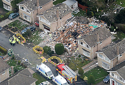 © Licensed to London News Pictures. 19/02/2016. Haxby, UK. An aerial view showng the scene of a house explosion in Haxby, York. Photo credit : Anna Gowthorpe/LNP