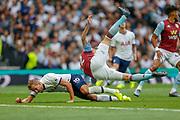 Aston Villa defender Bjorn Engels (22) collides with Tottenham Hotspur forward Harry Kane (10) during the Premier League match between Tottenham Hotspur and Aston Villa at Tottenham Hotspur Stadium, London, United Kingdom on 10 August 2019.