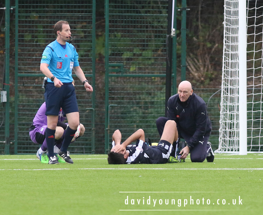 Dundee&rsquo;s Julen Etxabeguren is in agony as he is treated by Dundee physic Gerry Docherty - Hamilton Academical v Dundee, Ladbrokes Premiership at New Douglas Park<br /> <br /> <br />  - &copy; David Young - www.davidyoungphoto.co.uk - email: davidyoungphoto@gmail.com