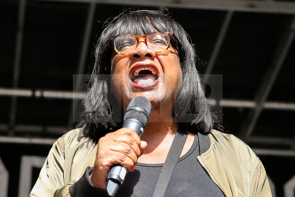 © Licensed to London News Pictures. 31/08/2019. London, UK. Diane Abbott, Shadow Home Secretary addresses at a rally in Whitehall as tens of thousands of protesters demonstrates outside Downing Street in London against British Prime Minister Boris Johnson's plans to suspend parliament for five weeks ahead of a Queens Speech on 14 October, just two weeks before the UK is set to leave the EU. Photo credit: Dinendra Haria/LNP