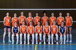 28-12-2019 NED: Team photo Volleyball women, Arnhem<br /> Volleyball women photoshoot before the final training when they leave for Olympic Qualification Tournament / Nicole Koolhaas #22 of Netherlands, Annick Meijers<br /> #26 of Netherlands, Floortje Meijners #8 of Netherlands, Rett Larson, Kenny Odijk, Marco Breviglieri, Giovanni Caprara, Marko Klok, Tom Berwers, Rianne Verhoek, Celeste Plak #4 of Netherlands, Anne Buijs #11 of Netherlands, Robin de Kruijf #5 of Netherlands. Zittend Kirsten Knip #1 of Netherlands, Laura Dijkema #14 of Netherlands, Lonneke Sloetjes #10 of Netherlands, Yvon Beliën #3 of Netherlands, Maret Balkestein-Grothues #6 of Netherlands, Nika Daalderop #19 of Netherlands, Marrit Jasper #18 of Netherlands, Britt Bongaerts #12 of Netherlands, Juliët Lohuis #7 of Netherlands, Myrthe Schoot #9 of Netherlands