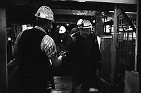 Coal miners entering the cage at Florence Colliery outside Stoke-on-Trent North Staffordshire, The West Midlands England 1977