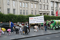 Falun Gong protosters in O'Connell Street Dublin Ireland