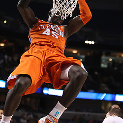 Mar 17, 2011; Tampa, FL, USA; Clemson Tigers forward/center Jerai Grant (45) dunks against the West Virginia Mountaineers during the first half of the second round of the 2011 NCAA men's basketball tournament at the St. Pete Times Forum.  Mandatory Credit: Derick E. Hingle