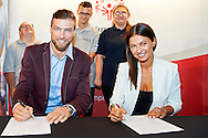 Warsaw, Poland - 2016 August 30: (R) Anna Lewandowska President of Special Olympics Poland and (L) volleyball player Andrzej Wrona pose to the picture in press conference Special Olympics Poland at Marriott Champions Bar on August  30, 2016 in Warsaw, Poland.<br /> <br /> Adam Nurkiewicz declares that he has no rights to the image of people at the photographs of his authorship.<br /> <br /> Picture also available in RAW (NEF) or TIFF format on special request.<br /> <br /> Any editorial, commercial or promotional use requires written permission from the author of image.<br /> <br /> Mandatory credit:<br /> Photo by © Adam Nurkiewicz