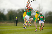NHL Division 2B at Trim, 6th March 2016<br /> Meath vs Donegal<br /> James Toher (Meath) and Stephen Gillespie /  Niall Cleary (Donegal)<br /> Photo: David Mullen /www.cyberimages.net / 2016