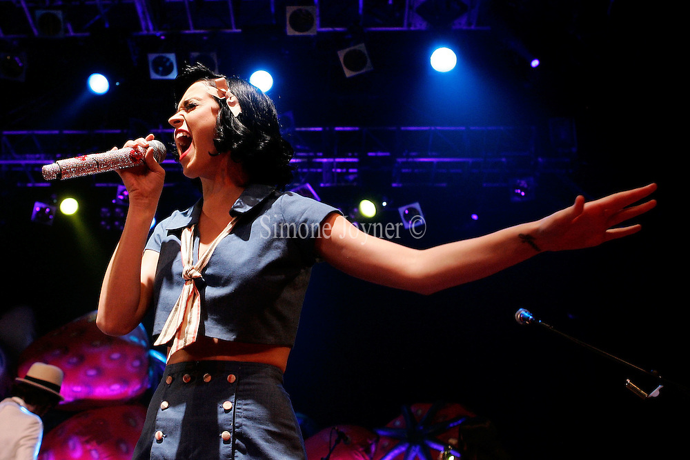 American singer-songwriter Katy Perry performs live on stage at Koko in Camden Town on February 27, 2009 in London, England.  (Photo by Simone Joyner)
