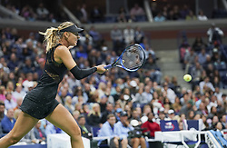 NEW YORK, Sept. 2, 2017  Maria Sharapova of Russia hits a return during the women's singles third round match against Sofia Kenin of the United States at the 2017 US Open in New York, the United States, Sept. 1, 2017. Sharapova won 2-0. (Credit Image: © Wang Ying/Xinhua via ZUMA Wire)