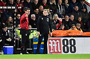 AFC Bournemouth manager Eddie Howe grimaces during the Premier League match between Bournemouth and Liverpool at the Vitality Stadium, Bournemouth, England on 7 December 2019.