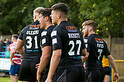 Bradford Bulls second row James Bentley (20) breaks free to score the third try and celebrates during the Kingstone Press Championship match between Oldham RLFC and Bradford Bulls at Bower Fold, Oldham, United Kingdom on 13 August 2017. Photo by Simon Davies.