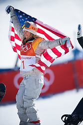 February 12, 2018 - Pyeongchang, South Korea - JAMIE ANDERSON of the USA celebrates her gold medal win in the Womens Snowboard Slopestyle finals at Phoenix Snow Park at the Pyeongchang Winter Olympic Games.  Photo by Mark Reis, ZUMA Press/The Gazette (Credit Image: © Mark Reis via ZUMA Wire)