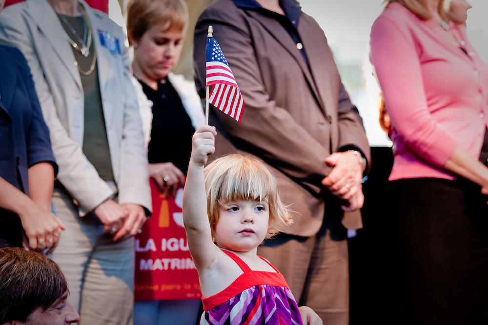 Kaylee (3) waves the American Flag at a rally in support of Gay Marriage after Prop. 8 was overturned.