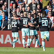 23-10-2016: Voetbal: Feyenoord v Ajax: Rotterdam<br /> <br /> (L-R) Ajax speler Kasper Dolberg heeft gescoord (0-1) tijdens het Eredivsie duel tussen Feyenoord en Ajax op 23 oktober in stadion Feijenoord (de Kuip) tijdens speelronde 10<br /> <br /> Eredivisie - Seizoen 2016 / 2017<br /> <br /> Foto: Gertjan Kooij