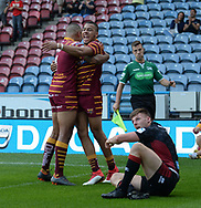 Darnell McIntosh of Huddersfield Giants celebrates scoring during the Betfred Super League match at the John Smiths Stadium, Huddersfield<br /> Picture by Richard Land/Focus Images Ltd +44 7713 507003<br /> 12/07/2018