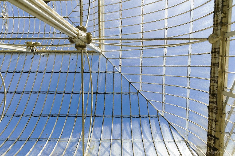 Details of the ironwork and glass of the Ornate Greenhouse in the Botanic Gardens, Dublin