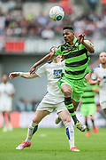 Dan Wishart (Forest Green Rovers) heads the ball under pressure from substitute Jack Dunn (Tranmere Rovers) during the Vanarama National League Play Off Final match between Tranmere Rovers and Forest Green Rovers at Wembley Stadium, London, England on 14 May 2017. Photo by Mark P Doherty.