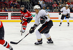 February 8, 2008; Newark, NJ, USA;  Anaheim Ducks right wing Teemu Selanne (8) skates during the third period at the Prudential Center in Newark, NJ. The Anaheim Ducks defeated the New Jersey Devils by a 2-1 margin.