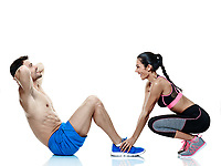 one caucasian couple man and woman exercising fitness crunches exercises isolated on white background
