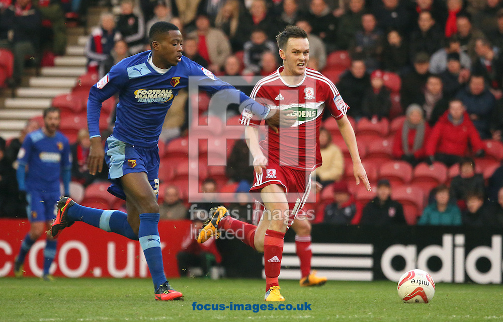 Picture by Paul Gaythorpe/Focus Images Ltd +447771 871632.12/01/2013.Nathaiel Chalobah of Watford and Josh McEachran of Middlesbrough during the npower Championship match at the Riverside Stadium, Middlesbrough.