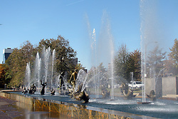20 October 2010: Cast fountains adorn a beautiful fountain in Aloe Park just across the street from St. Louis Union Station.  St. Louis Missouri