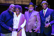 Keith Calhoun, Chandra McCormick, Clifton Webb, and Big Chief Darryl Montana with their awards at the Arts Council New Orleans Community Arts Awards Celebration at the Civic Theatre December 2, 2015