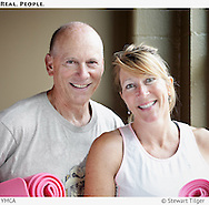 Portrait of a couple at a Seattle YMCA fitness class.
