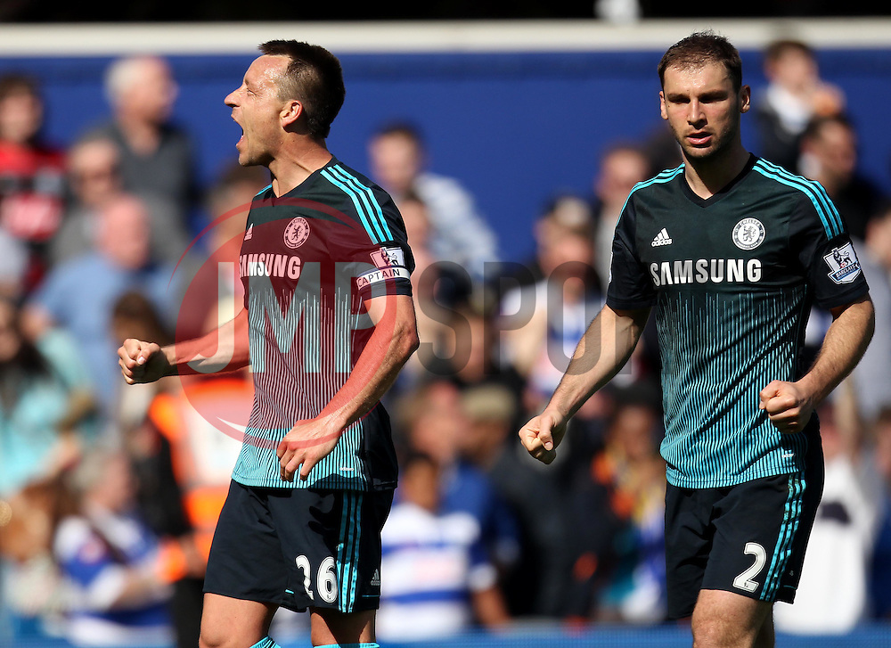 Chelsea's John Terry and Chelsea's Branislav Ivanovic celebrate - Photo mandatory by-line: Robbie Stephenson/JMP - Mobile: 07966 386802 - 12/04/2015 - SPORT - Football - London - Loftus Road - Queens Park Rangers v Chelsea - Barclays Premier League