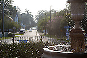 fountain in the center of the roundabout in the Historic District of Abita Springs, Louisiana