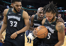 October 31, 2018 - Minneapolis, MN, USA - The Minnesota Timberwolves' Derrick Rose, right, is congratulated at the end of the game after he scored a career-high 50 points against the Utah Jazz at the Target Center in Minneapolis on Wednesday, Oct. 31, 2018. The Timberwolves won, 128-125. (Credit Image: © Carlos Gonzalez/Minneapolis Star Tribune/TNS via ZUMA Wire)