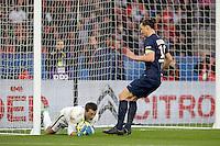 Rudy RIOU / Zlatan IBRAHIMOVIC   - 07.03.2015 -   PSG / Lens -  28eme journee de Ligue 1 <br /> Photo : Andre Ferreira / Icon Sport