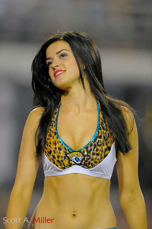 Jacksonville Jaguars cheerleader during a preseason NFL game against the Philadelphia Eagles at EverBank Field on Aug. 24, 2013 in Jacksonville, Florida. The Eagles won 31-24.<br /> <br /> &copy;2013 Scott A. Miller