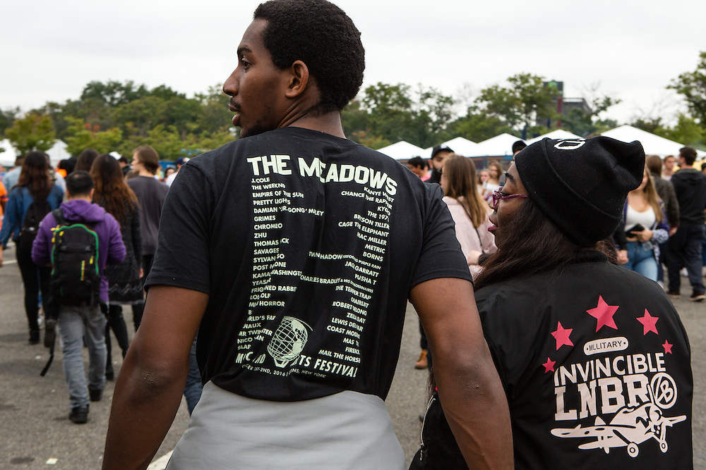 Queens, NY - October 2, 2016. Wearing The Meadows festival t-shirts at The Meadows Festival at Citi Field.