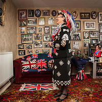 LOCATION, UK  29/04/2011. The Royal Wedding of HRH Prince William to Kate Middleton. Doreen Golding Pearly Queen for Bow Bells and Old Kent Rd, gets ready before attending an East London street party as part of the Royal Wedding celebrations.Photographer Andrew Baker