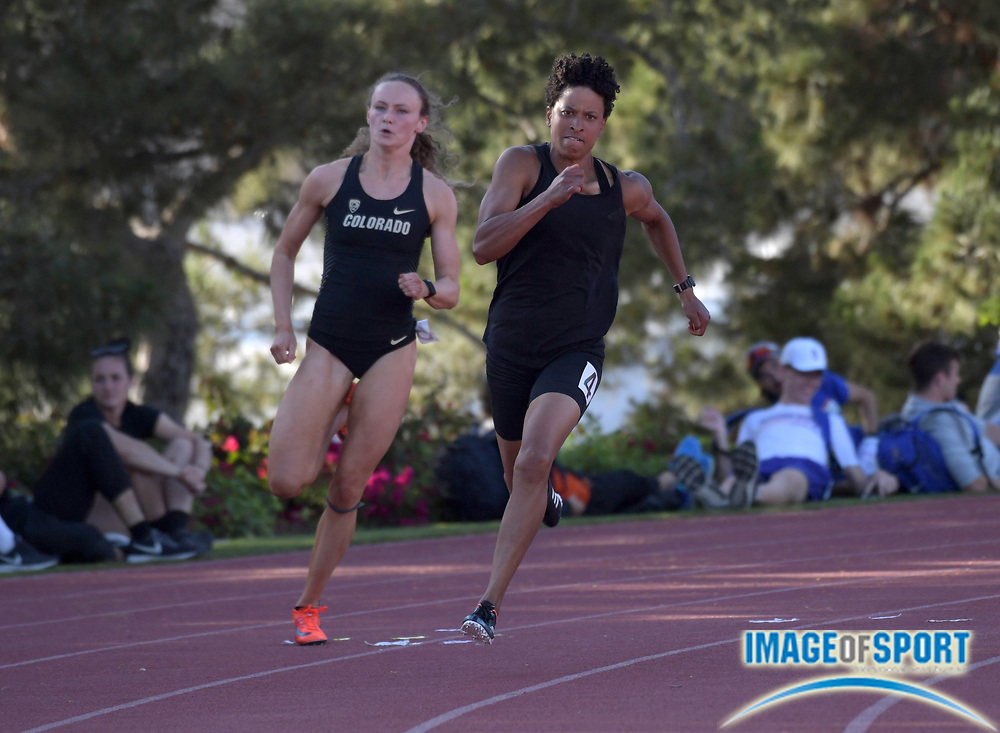 Angela Whyte (CAN) runs in the heptathlon 200m during the Bryan Clay Invitational in Azusa, Calif., Wednesday, April 17, 2019.