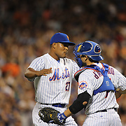 Pitcher closer Jeurys Familia, New York Mets, celebrates his sides win with catcher Travis d'Arnaud during the New York Mets Vs Washington Nationals. MLB regular season baseball game at Citi Field, Queens, New York. USA. 1st August 2015. (Tim Clayton for New York Daily News)