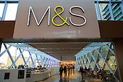 Marks and Spencer shop sign inside Westfield shopping centre, Stratford, London, England, UK