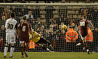 Photo: Aidan Ellis.<br /> Bradford City v Swansea City. Coca Cola League 1. 13/01/2007.<br /> Bradford's Dean Windass fires in his sides second goal from the penalty spot