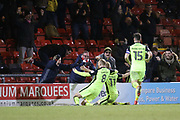 Jayden Stockley celebrates a 95th minute winner for Exeterduring the EFL Sky Bet League 2 match between Crewe Alexandra and Exeter City at Alexandra Stadium, Crewe, England on 20 February 2018. Picture by Graham Holt.