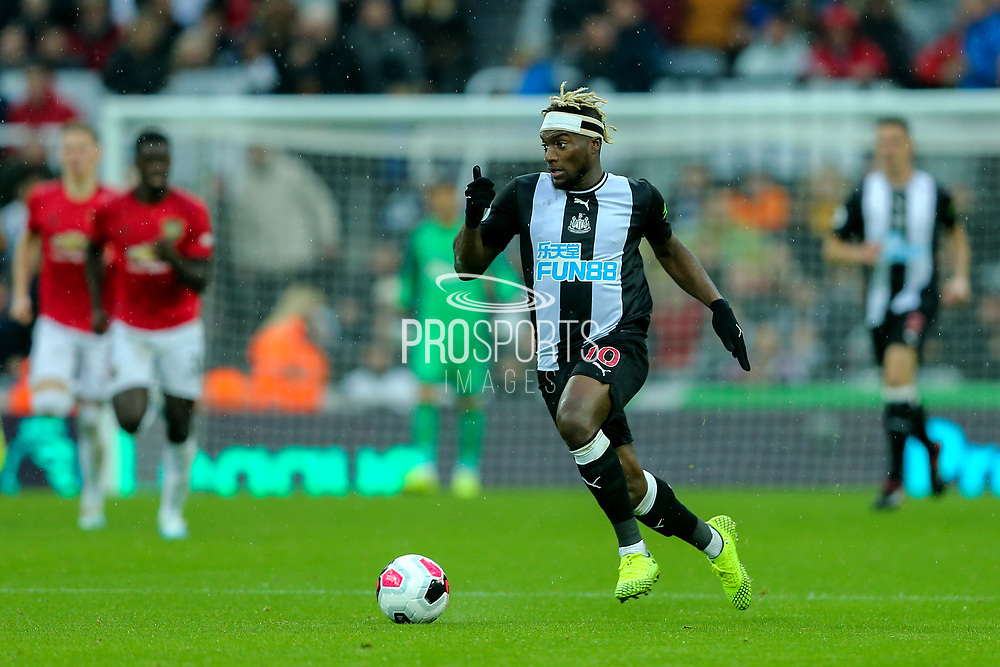 Allan Saint-Maximin (#10) of Newcastle United drives the ball into the Manchester United half during the Premier League match between Newcastle United and Manchester United at St. James's Park, Newcastle, England on 6 October 2019.