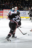 KELOWNA, CANADA - FEBRUARY 18: Matt Dumba #24 of the Red Deer Rebels takes a shot on net as the Red Deer Rebels visit the Kelowna Rockets on February 18, 2012 at Prospera Place in Kelowna, British Columbia, Canada (Photo by Marissa Baecker/Shoot the Breeze) *** Local Caption ***