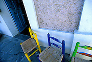 Image of storefront with colorful chairs in Todos Santos on the Baja California Peninsula, Mexico.