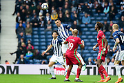 West Bromwich Albion defender Kieran Gibbs (3) heads the ball during the Premier League match between West Bromwich Albion and Swansea City at The Hawthorns, West Bromwich, England on 7 April 2018. Picture by Dennis Goodwin.