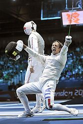 05.08.2012, ExCeL Exhibition Centre, London, GBR, Olympia 2012, Fechten, im Bild Celebration Andrea BALDINI (ITA) // during fencing, at the 2012 Summer Olympics at ExCeL Exhibition Centre, London, United Kingdom on 2012/08/05. EXPA Pictures © 2012, PhotoCredit: EXPA/ Insidefoto/ Giovanni Minozzi *****ATTENTION - for AUT, SLO, CRO, SRB, SUI and SWE only *****