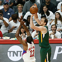 25 April 2017: Utah Jazz forward Joe Ingles (2) takes a jump shot over LA Clippers forward Luc Mbah a Moute (12) during the Utah Jazz 96-92 victory over the Los Angeles Clippers, during game 5 of the first round of the Western Conference playoffs, at the Staples Center, Los Angeles, California, USA.
