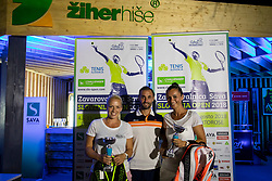 Nastja Glebov, Aljaz Kos and Petra Dragsci at Recreational-veteran national championship of Slovenia at ATP Challenger Zavarovalnica Sava Slovenia Open 2018, on August 4, 2018 in Sports centre, Portoroz/Portorose, Slovenia. Photo by Urban Urbanc / Sportida