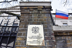 © Licensed to London News Pictures. 14/03/2018. LONDON, UK.  A general view of the exterior of the Embassy of Russia in Kensington.  Britain has given 23 Russian diplomats a week to leave the country following the attack on ex-spy Sergei Skripal and his daughter Yulia with nerve gas in Salisbury..  Photo credit: Stephen Chung/LNP