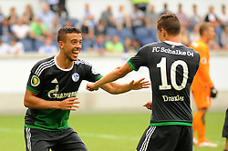 08.08.2015, Schauinsland Reisen Arena, Duisburg, GER, DFB Pokal, MSV Duisburg vs FC Schalke 04, 1. Runde, im Bild V.l.n.r. Torschuetze Franco di Santo tanzt mit Julian Draxler ( beide Schalke 04 ) nach seinem Treffer zum 4 : 0 vor Freude. // during German DFB Pokal first round match between MSV Duisburg and FC Schalke 04 at the Schauinsland Reisen Arena in Duisburg, Germany on 2015/08/08. EXPA Pictures © 2015, PhotoCredit: EXPA/ Eibner-Pressefoto/ Thienel<br /> <br /> *****ATTENTION - OUT of GER*****