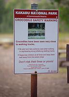 Crocodile safety warning sign, Kakadu National Park, Northern Territory