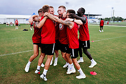 Adam Webster of Bristol City celebrates during a head tennis session in the afternoon of day 5 - Rogan/JMP - 15/07/2019 - IMG Academy, Bradenton - Florida, USA - Bristol City Pre-Season Tour Day 5.